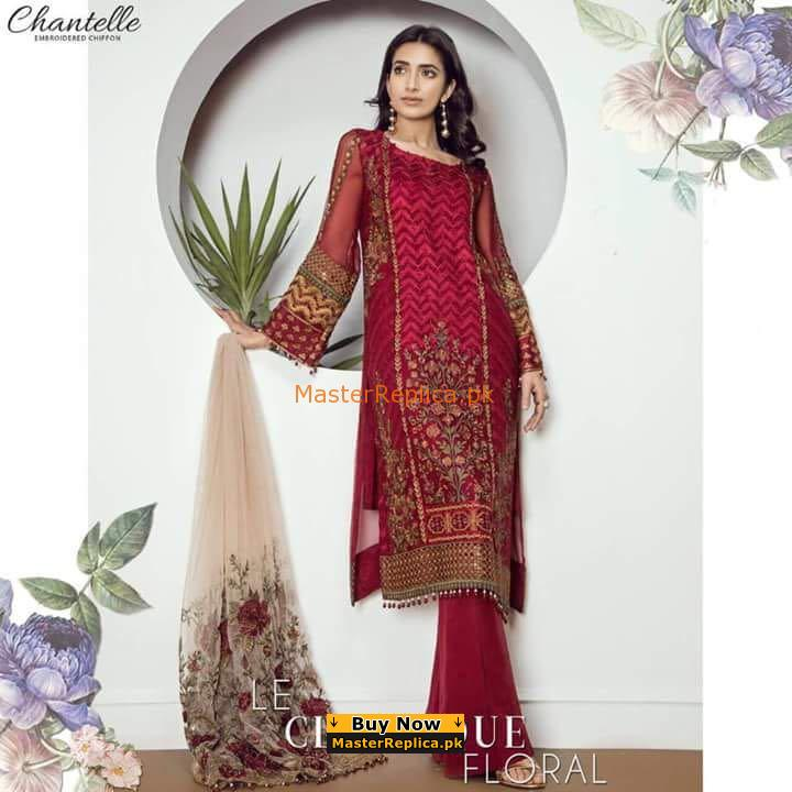 BAROQUE Classics Floral Luxury Embroidered Chiffon Collection Replica