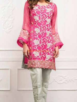 FUCHSIA Luxury Pink Embroidered Chiffon Eid Collection Replica