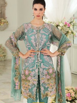 Gul Ahmed Latest Teal Blended FE-121 Embroidered Chiffon Collection Replica