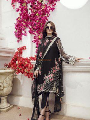 IMROZIA Luxury The Dark Rose Embroidered Chiffon Collection Replica