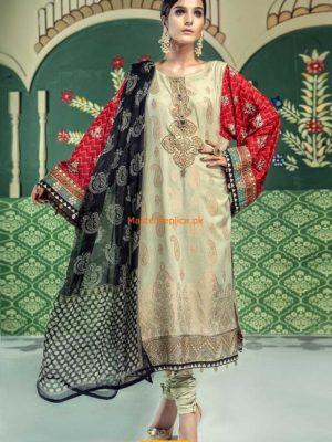 Maria B.Latest D-506-Dark Beige & Fuschia Embroidered Lawn Collection Replica