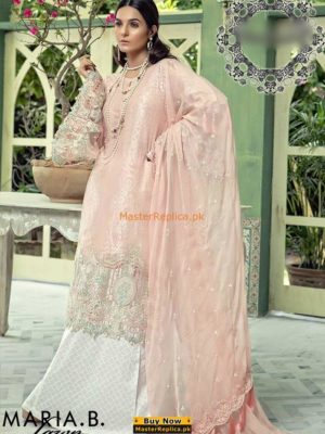 MARIA B D-502 PASTEL PINK LUXURY EMBROIDERED LAWN COLLECTION 2018 REPLICA