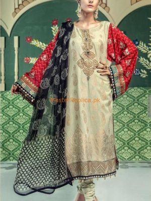 Maria B Luxury D-506-Dark Beige & Fuschia Embroidered Lawn Collection Replica