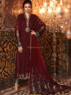 MARIA B Luxury Royal Maroon (BD-1307) Embroidered Chiffon Collection Replica