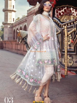 Maria B. Latest Pearl White & Pastel (BD-1303) EmbrMaria B. Latest Pearl White & Pastel (BD-1303) Embroidered Chiffon Replicaidered Chiffon Replica