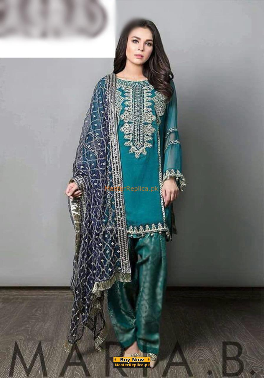 d582945817c Maria B Latest Embroidered Chiffon Eid Collection Replica 2018