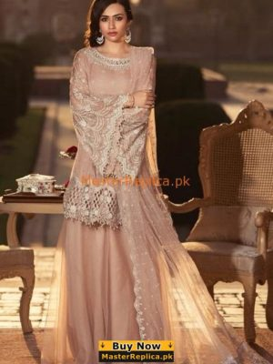 Maria B Luxury Powder Peach (BD-1306) Embroidered Chiffon Collection Replica