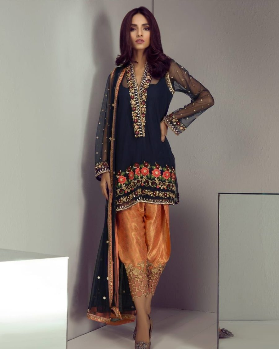 MINA HASSAN Luxury Embroidered Chiffon Eid Collection Replica