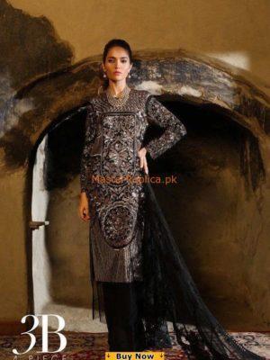SANA SAFINAZ Luxury 3-B Embroidered Chiffon Collection Replica