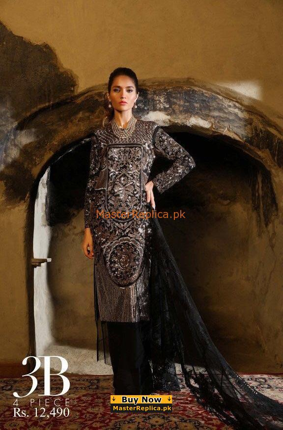 SANA SAFINAZ Luxury 3-B Embroidered Chiffon Collection Replica