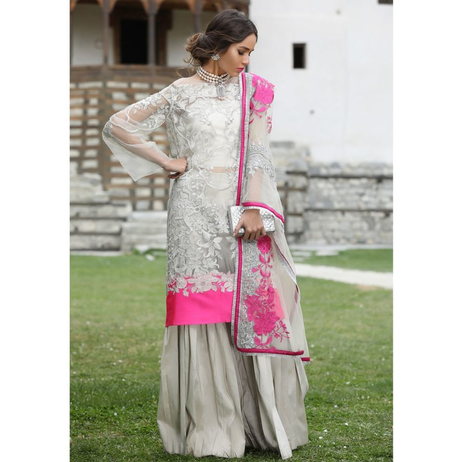 Sana Safinaz Latest 18-05A Embroidered Net Collection Replica 2018