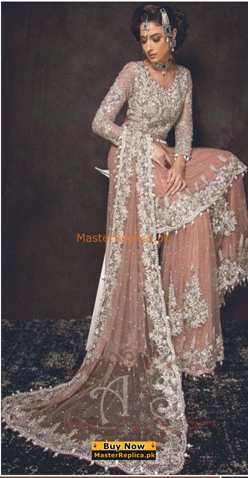 Sobia Nazir Luxury Embroidered Bridal Net Collection Replica