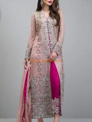 ZAINAB CHOTTANI Luxury Rose Gold Jacket Chiffon Embroidered Collection Replica