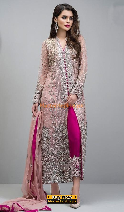 ZAINAB CHOTTANI Luxury Rose Gold Jacket Chiffon Embroidered Collection Replica