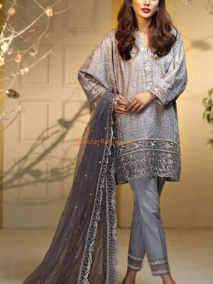 ANAYA Luxury Silver Baroque Embroidered Chiffon Collection Replica