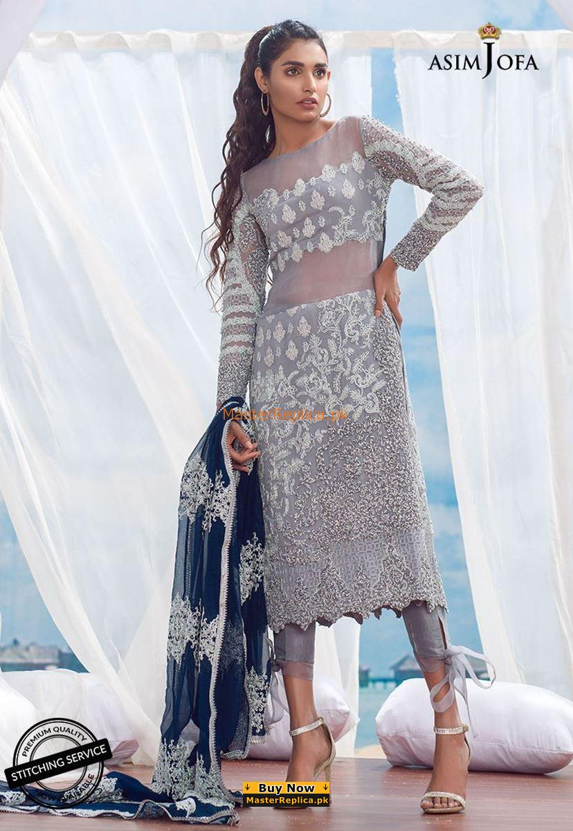 ASIM JOFA Luxury ALC-3A Embroidered Chiffon Collection Replica