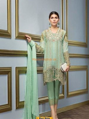 GUL AHMED Luxury Green FE-130 Embroidered Chiffon Collection Replica