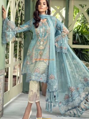 MARIA B Luxury D-505-Blue Embroidered Summer Lawn Collection Replica