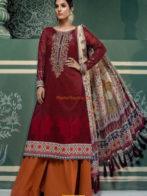 MARIA B Latest D-508-Maroon Embroidered Lawn Collection Replica