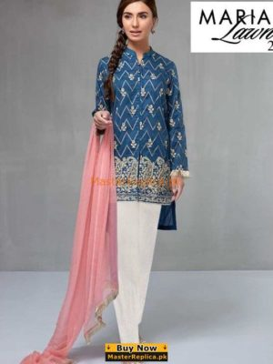 MARIA B Latest Suit Blue DW-2106 Embroidered Lawn Collection Replica