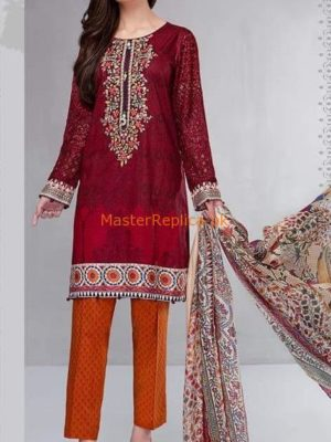 Maria B Luxury D-508-Maroon Embroidered Lawn Collection Replica