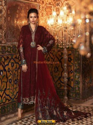 MARIA B Latest Royal Maroon (BD-1307) Embroidered Lawn Collection Replica