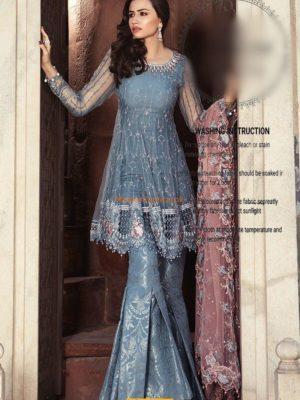 Maria B.Luxury Cerulean Blue (BD-1304) Embroidered Chiffon Replica %