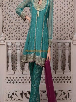 Maria B Latest Suit Green SF-1587 Embroidered Net Collection Replica