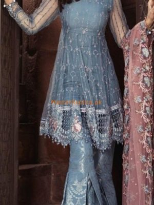 Maria B.Luxury Cerulean Blue (BD-1304) Embroidered Net Replica