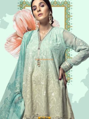 MARIA B Luxury D-510-Sea Green Embroidered Lawn Collection Replica