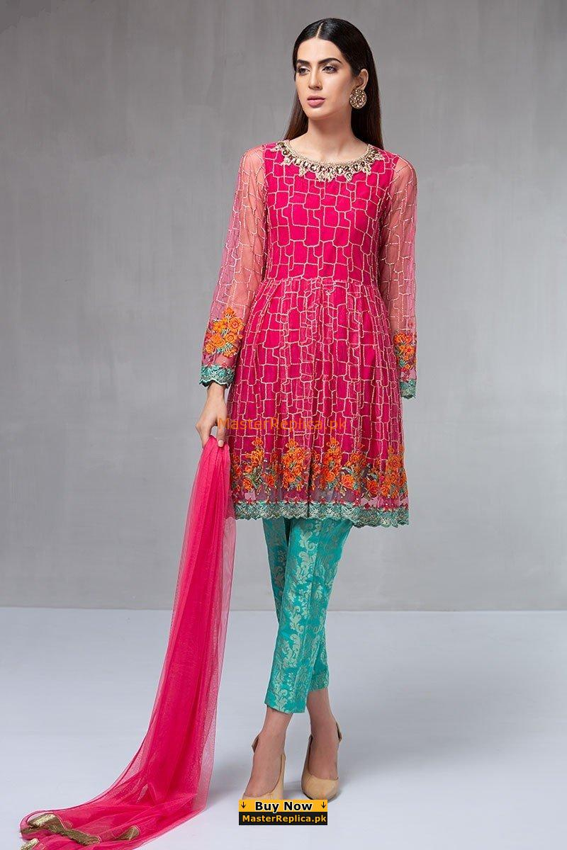 Maria B Luxury Suit Pink Sf 1590 Embroidered Chiffon