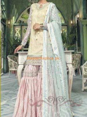 Maria B Luxury D-504-Yellow & Pastel Embroidered Lawn Collection Replica