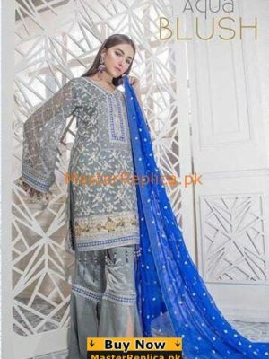 MARIA & MARIA Aqua Blush Embroidered Chiffon Collection Replica