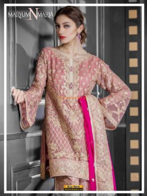 MARYAM & MARIA Luxury ASTER PINK (FMM-208) Embroidered Chiffon ColleMARYAM & MARIA Luxury ASTER PINK (FMM-208) Embroidered Chiffon Collection REPLICAction REPLICA