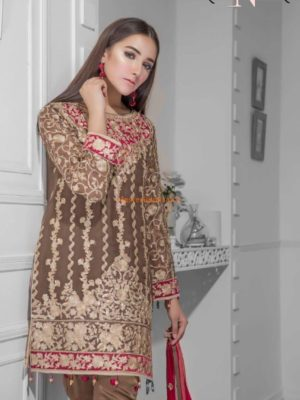 MARYAM & MARIA Luxury Caramel Blosom Embroidered Chiffon Collection Replica