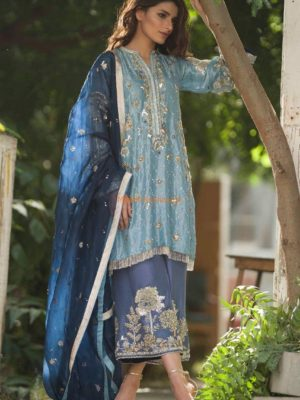NIDA AZWER Luxury Embroidered Organza Collection Replica