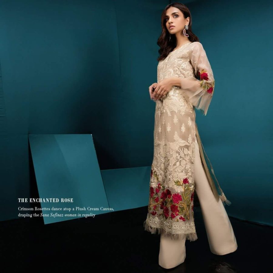 SANA SAFINAZ Luxury Embroidered Net Collection Replica