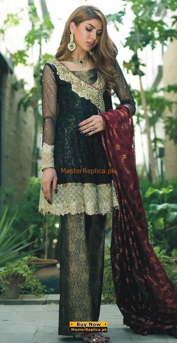 ZAINAB CHOTTANI Luxury BLACK FANTASY Embroidered Chiffon Collection Replica