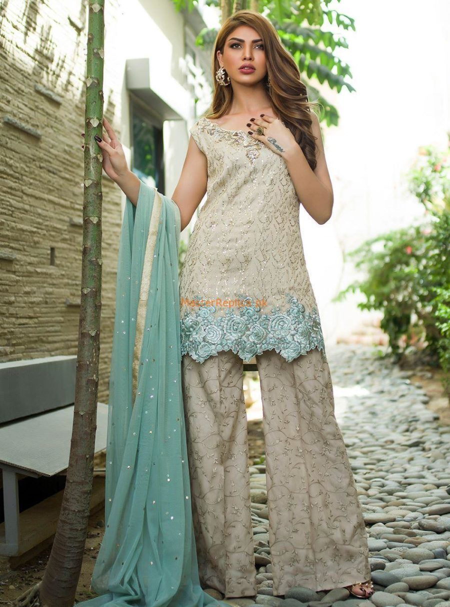 ZAINAB CHOTTANI Latest BEIGE AND MINT Embroidered Chiffon Collection Replica