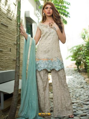 ZAINAB CHOTTANI Luxury BEIGE AND MINT Embroidered Chiffon Collection Replica