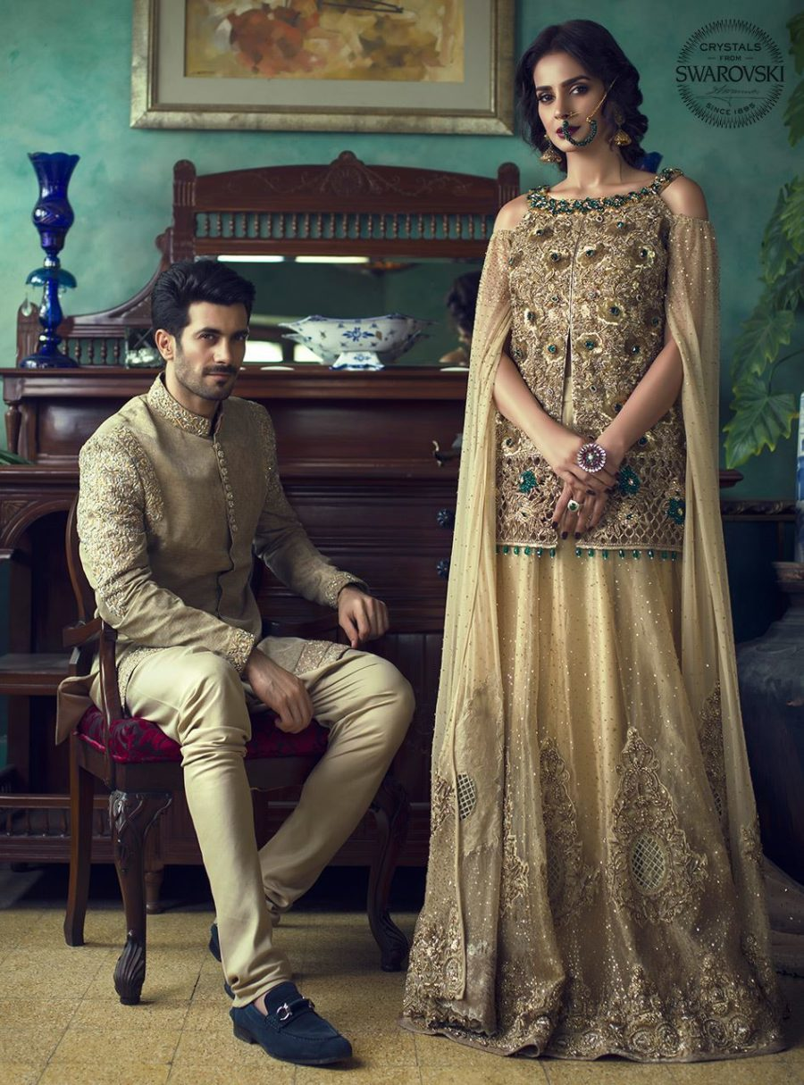 ZAINAB CHOTTANI Luxury GOLD AND EMERALD Embroidered Chiffon CollectioZAINAB CHOTTANI Luxury GOLD AND EMERALD Embroidered Chiffon Collection Replica n Replica