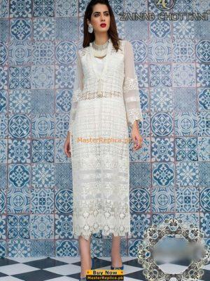 ZAINAB CHOTTANI Luxury WHITE ILLUSION Embroidered Chiffon Collection Replica