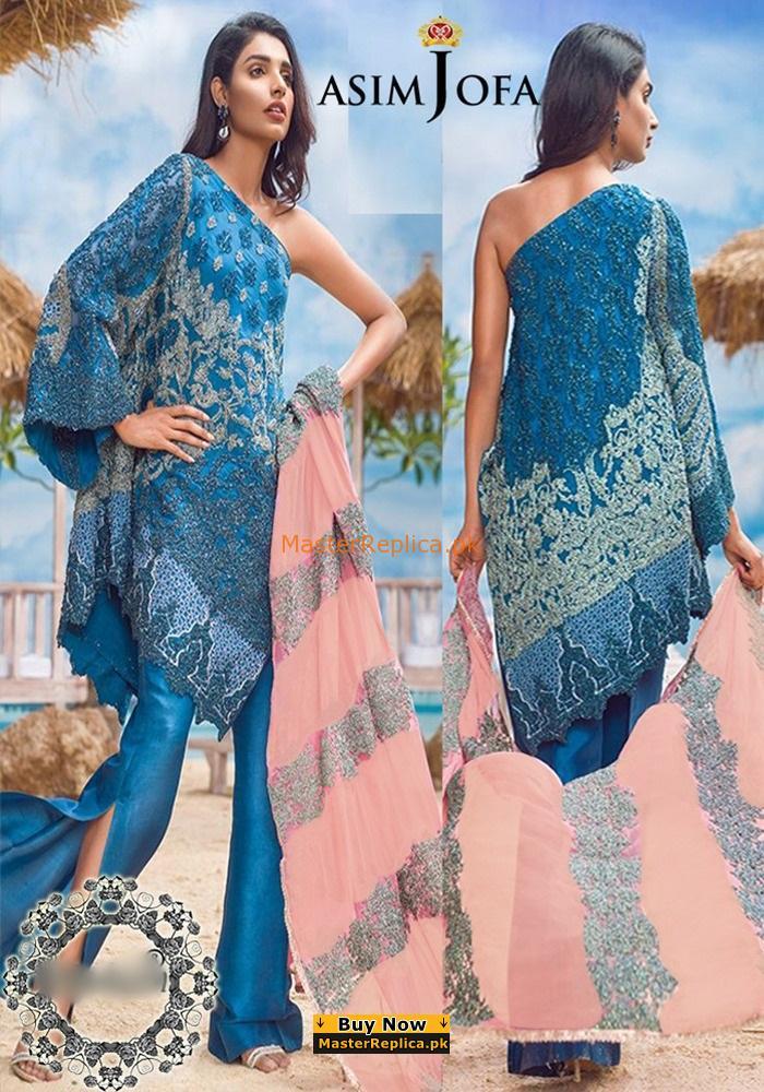 ASIM JOFA Luxury Embroidered Chiffon Collection Replica 2018