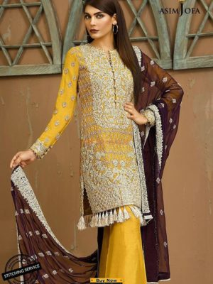 Asim Jofa Luxury AJ-4B Embroidered Chiffon Collection Replica