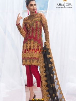 ASIM JOFA Luxury ALC-2A Embroidered Chiffon Collection Replica