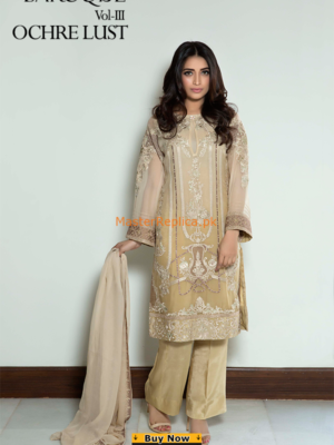BAROQUE Latest Ochre Lust Embroidered Chiffon Collection Replica
