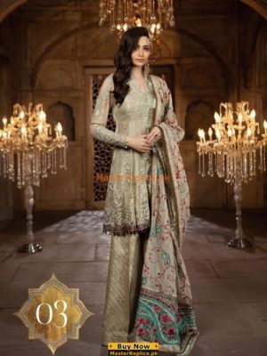 MARIA B Luxury Beige (BD-1403) Embroidered Chiffon Collection Replica