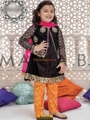 MARIA B Luxury Embroidered Kids Chiffon Eid Collection Replica
