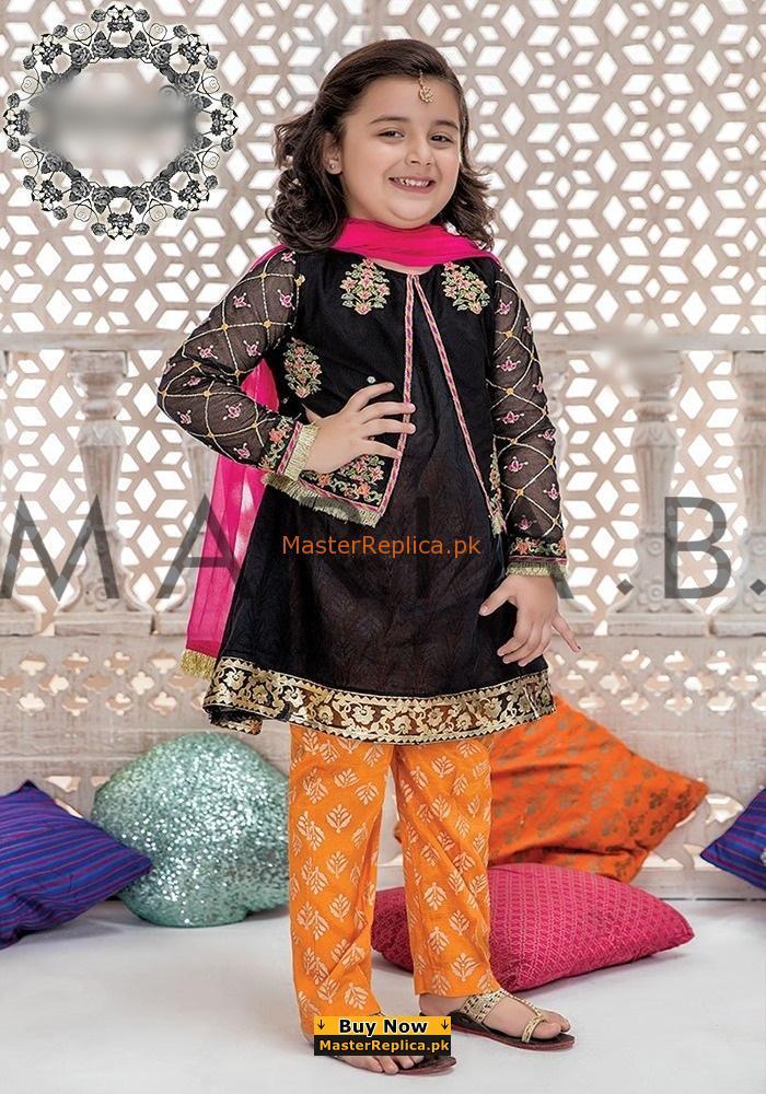 MARIA B Luxury Embroidered Kids Chiffon Eid Collection Replica