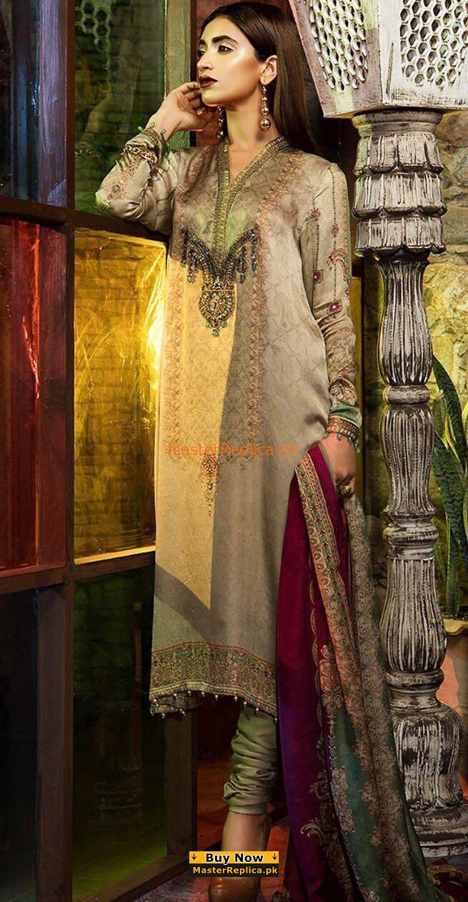 MARIA B Luxury MSK-106-Beige Printed Silk MARIA B Luxury MSK-106-Beige Printed Silk Collection Replica Collection Replica